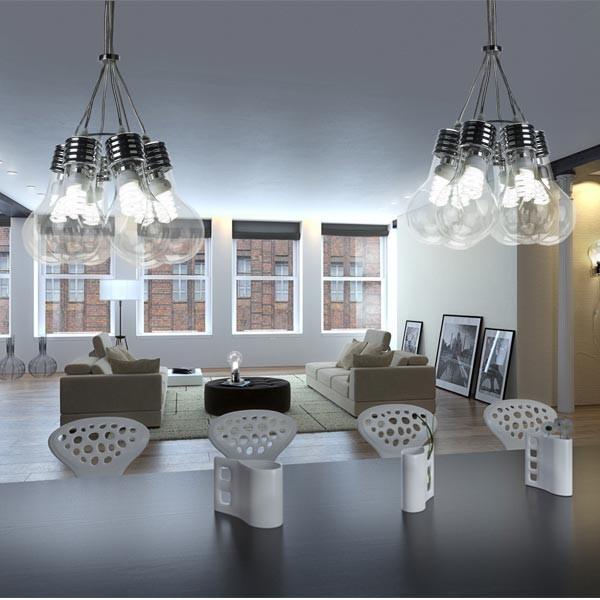 Decoraci n creativa con la lampara de techo bombilla for Lampara con forma de bombilla