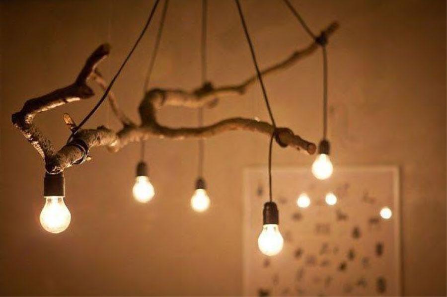 L mparas hechas con ramas de rbol - Como hacer una lampara rustica ...