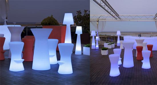 Mobiliario de exterior con luz led