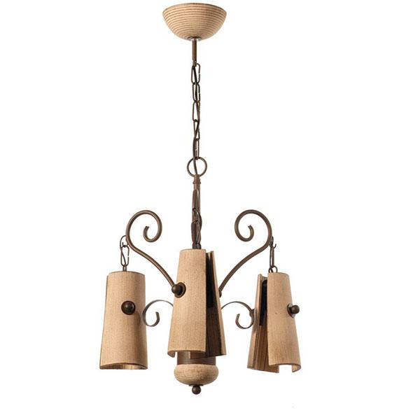 Lampara colgante tejas ceramica (3 luces)