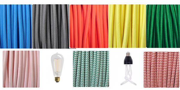 Cables de colores y bombillas decorativas