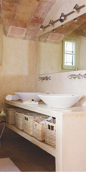 iluminación moderna en baño Rústico