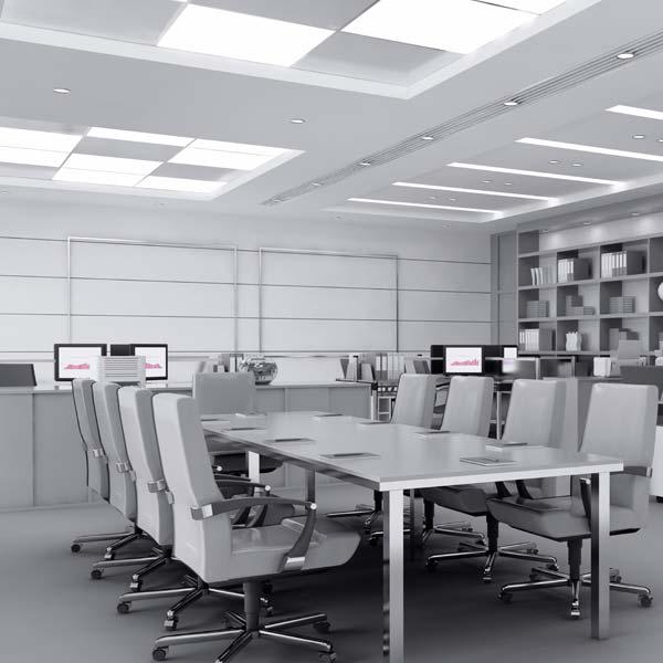 Iluminación oficina con pantalla de led