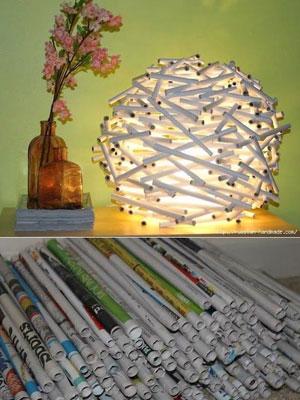 reciclar-lamparas-periodico-diy
