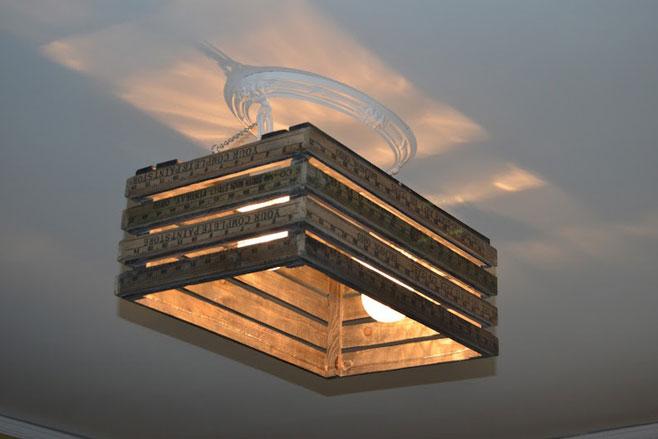 hacer lamparas de techo recicladas