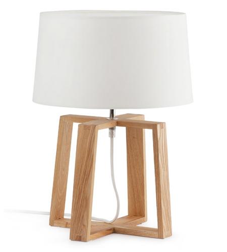 Lámpara de mesa Bliss con base de madera