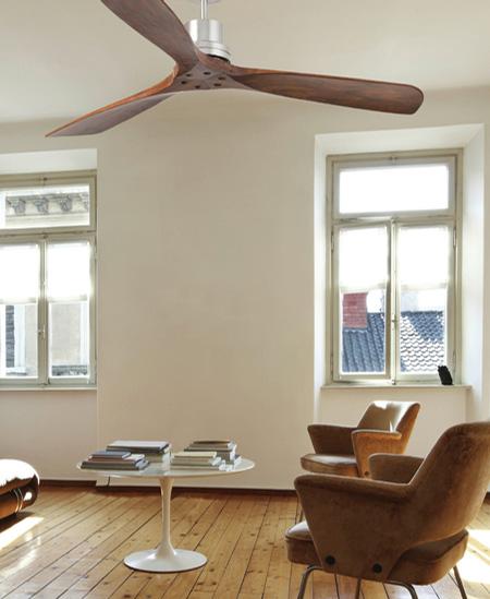 Ventilador de techo Lantau con motor AC de tres velocidades fabricado en masera de nogal