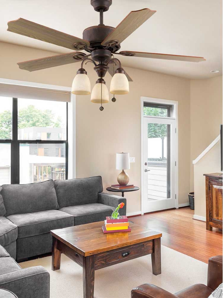 Ventilador de techo para salon con motor AC de estilo rustico