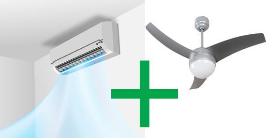 Usar ventilador de techo y aire acondicionado a la vez