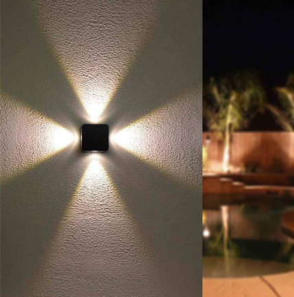 Aplique de pared con baño de pared LED Fount cuatro puntos de luz que iluminan la pared