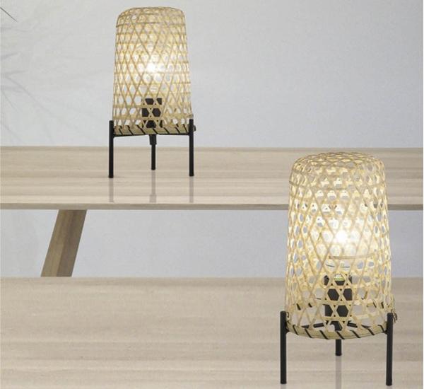 Lamparas de mesa de bambu entrelazado