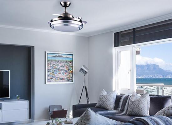 Ventilador de techo para salones modernos con aspas plegables y luz LED