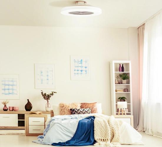 Lámpara ventilador LED con forma de plafón LED