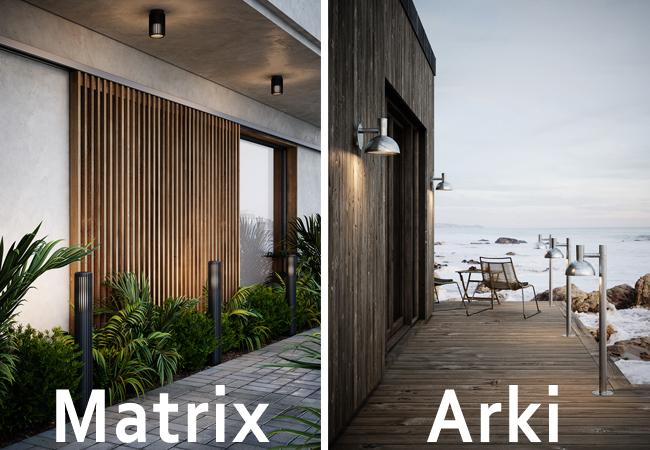 Lámparas de exterior de Acero galvanizado y aluminio anodizado