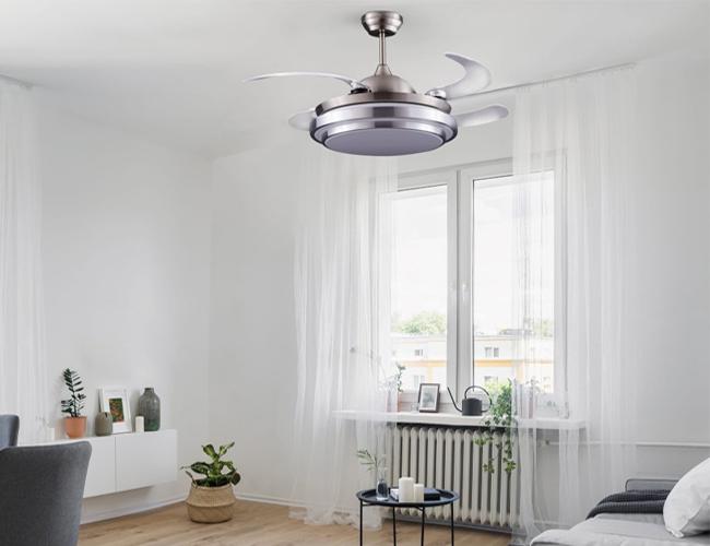 Ventilador de techo aspas plegables con luz LED Twin